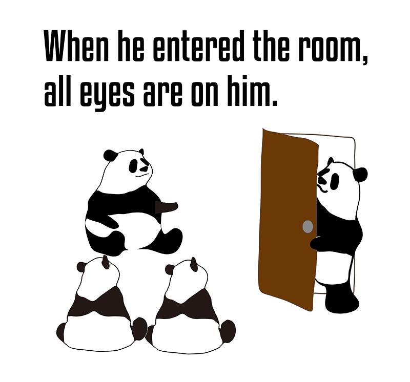 all eyes are on ~のフレーズとパンダの絵