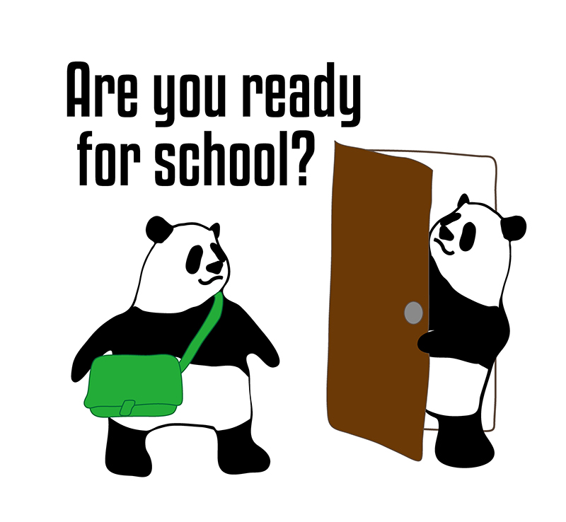 are you ready for school?のパンダの絵