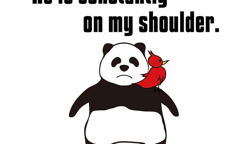 「be on one's shoulder」のパンダの絵