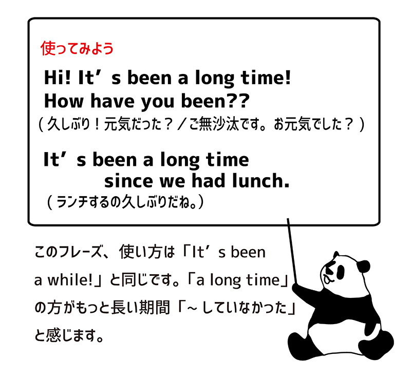It's been a long time! 例