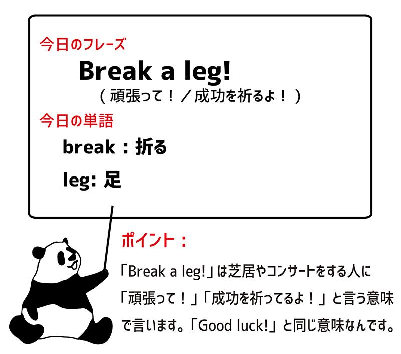 Break a leg!のフレーズ