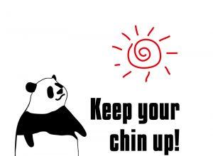 Keep your chin up!のパンダの絵