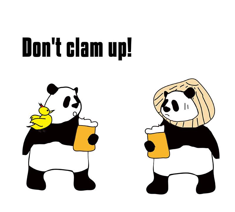 clam upのパンダの絵