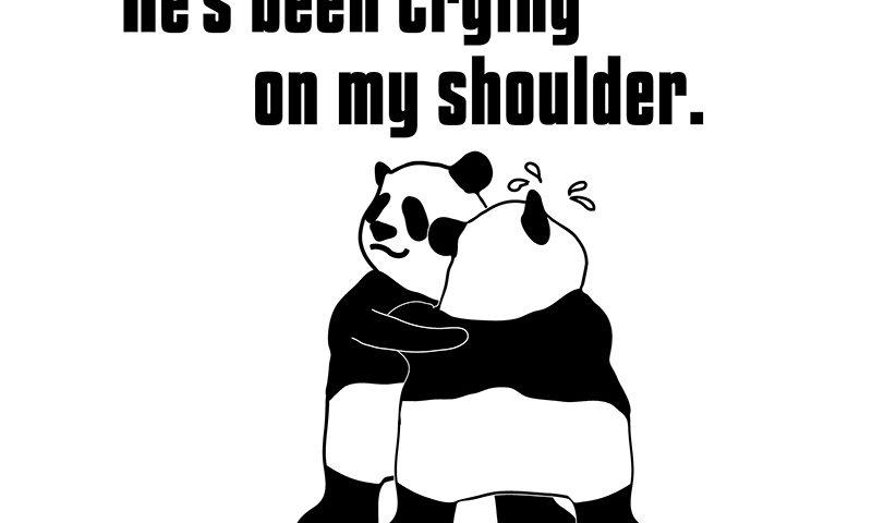 cry on one's shoulderのフレーズとパンダの絵