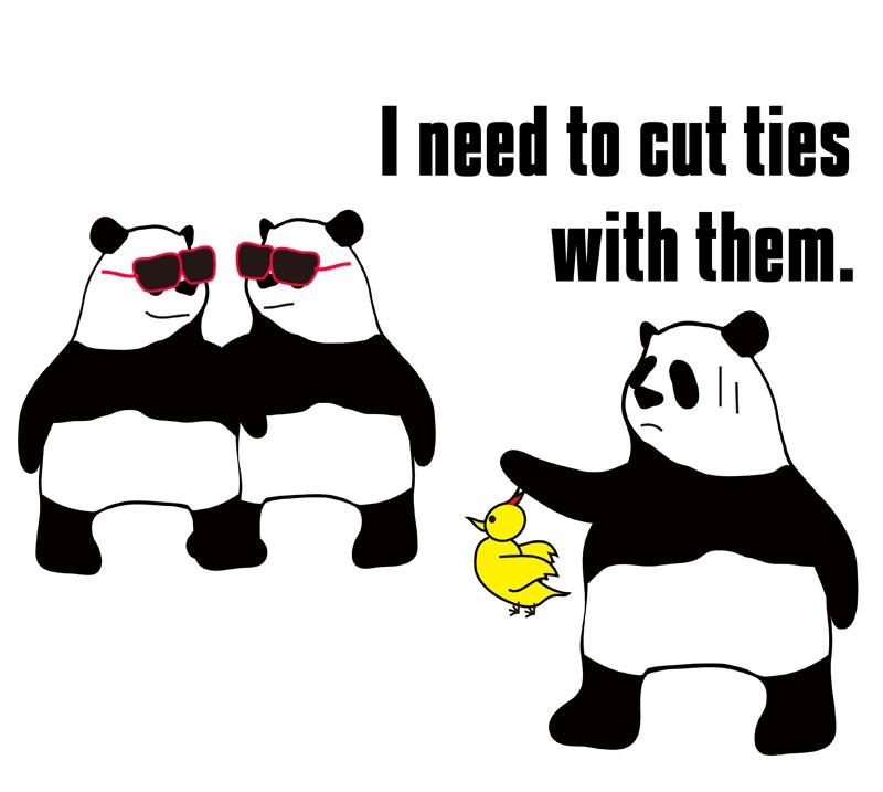 cut ties withのパンダの絵