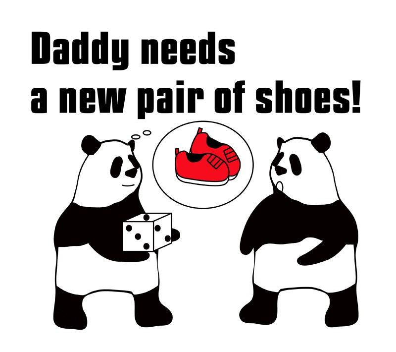 daddy needs a new pair of shoesのパンダの絵