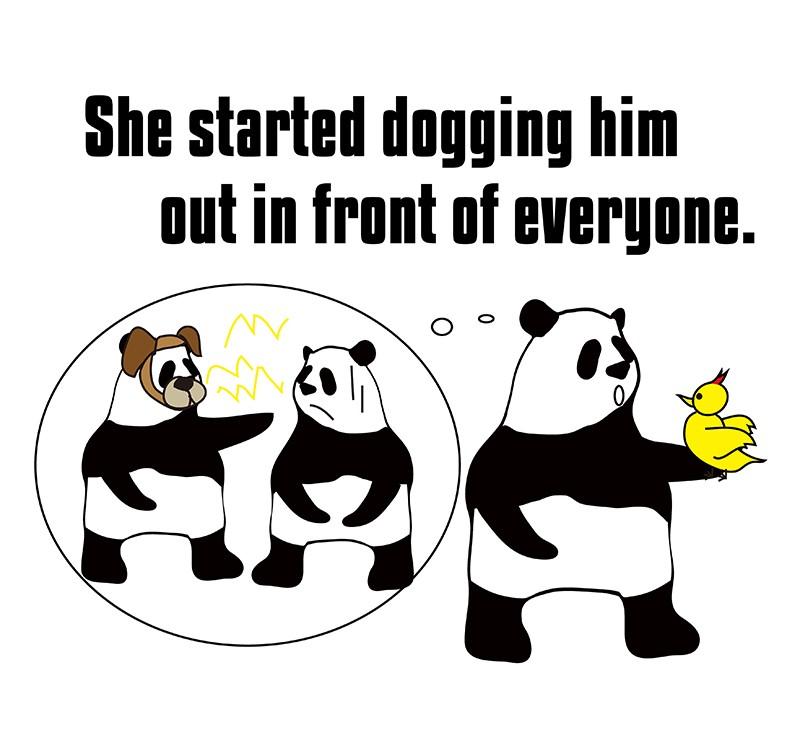 dog outのパンダの絵