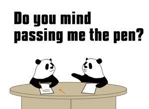 Do you mind passing me the salt? のパンダの絵