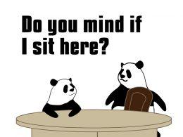 Do you mind if I sit here?のパンダの絵