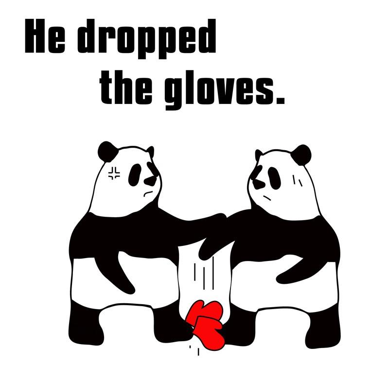 drop the glovesのパンダの絵