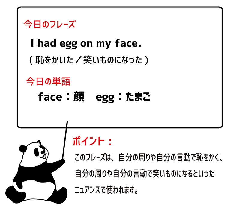 egg on one's faceの意味