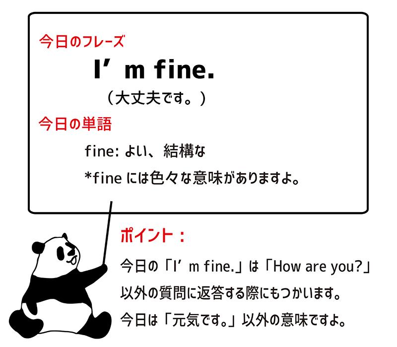 I'm fine. のフレーズ