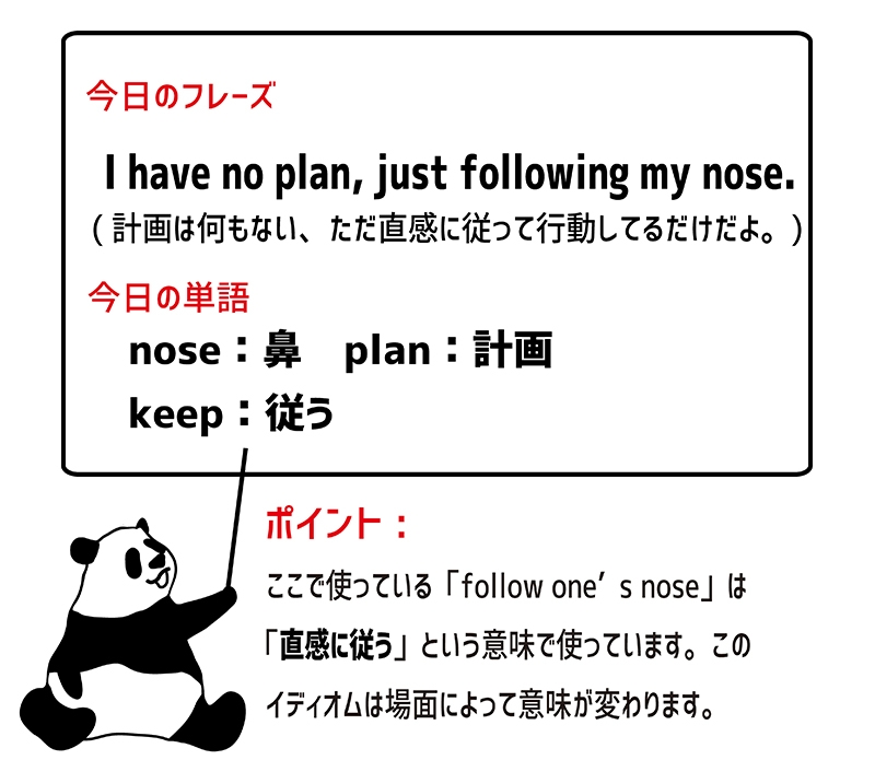 follow one's noseのフレーズ