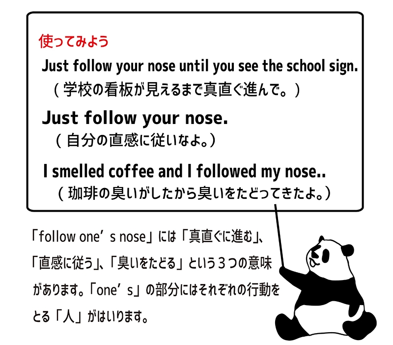 follow one's noseの使い方