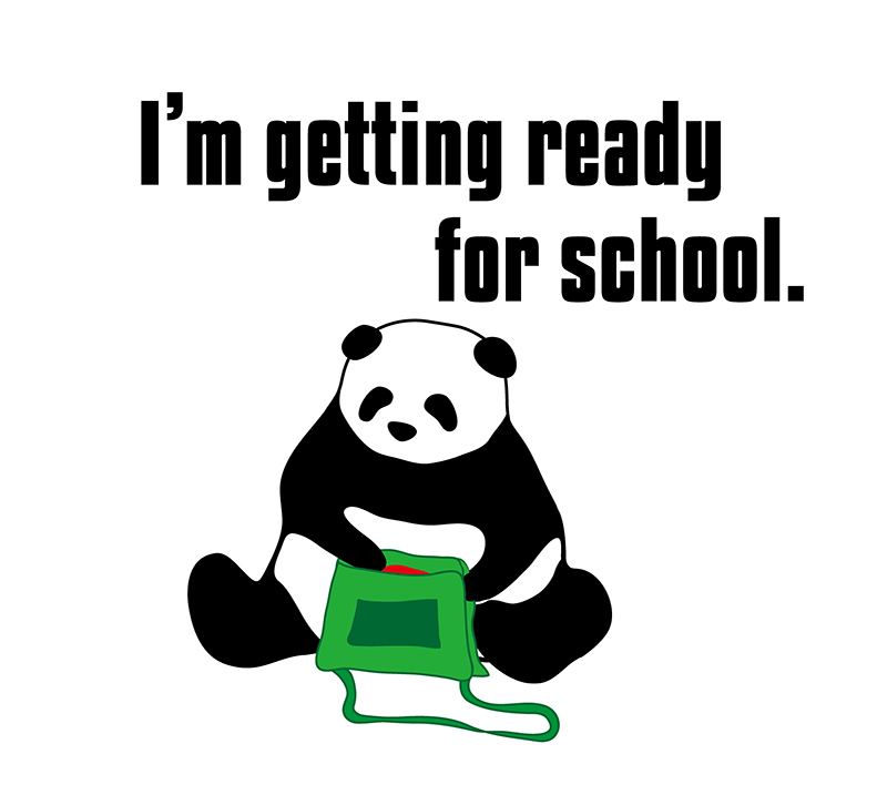 I'm getting ready for school.のパンダの絵