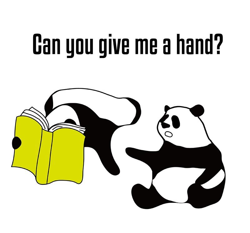 give a hand のパンダの絵