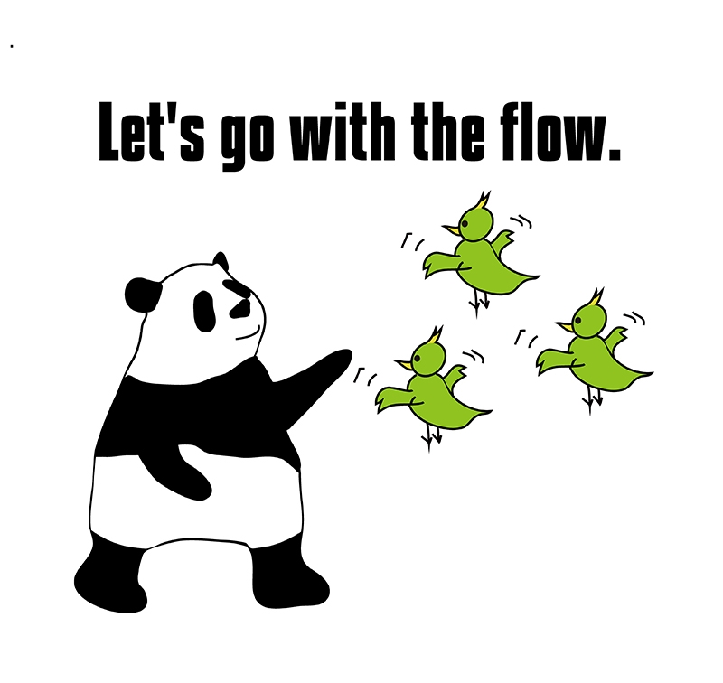 go with the flowのパンダの絵