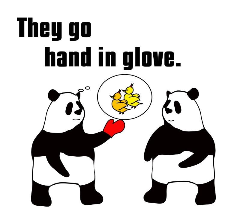 hand in gloveのパンダの絵