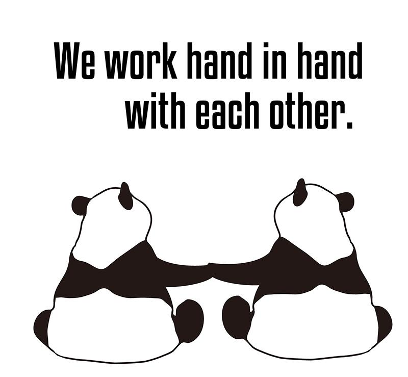 hand in handのパンダの絵