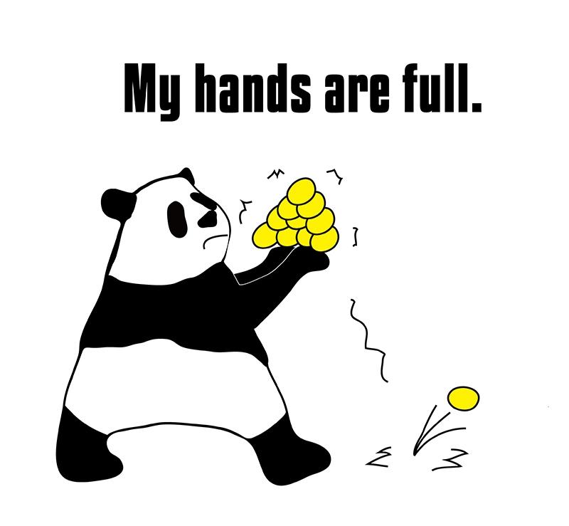 hands fullのパンダの絵