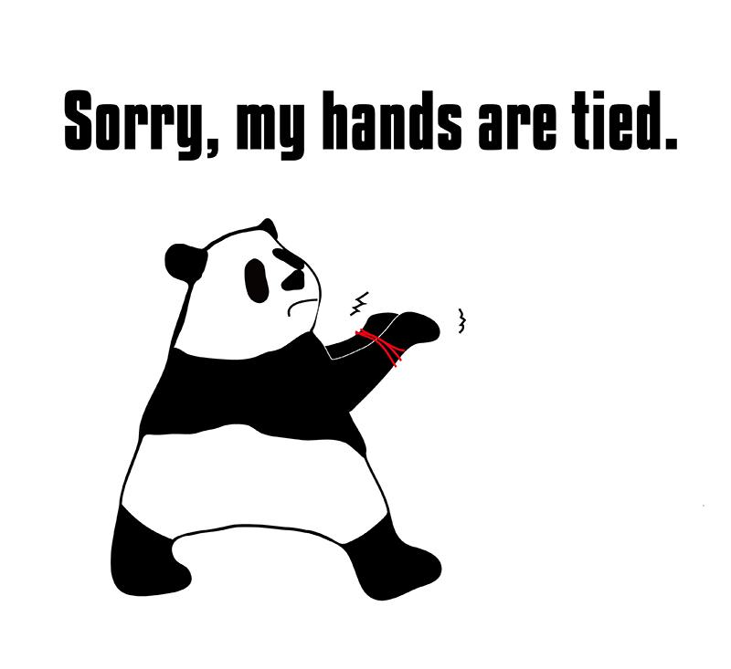 hands are tiedのパンダの絵