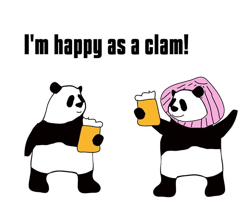 happy as a clamのパンダの絵