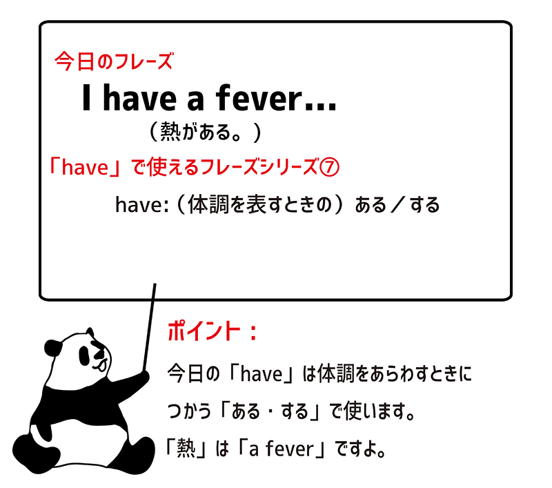 I have a fever. ポイント