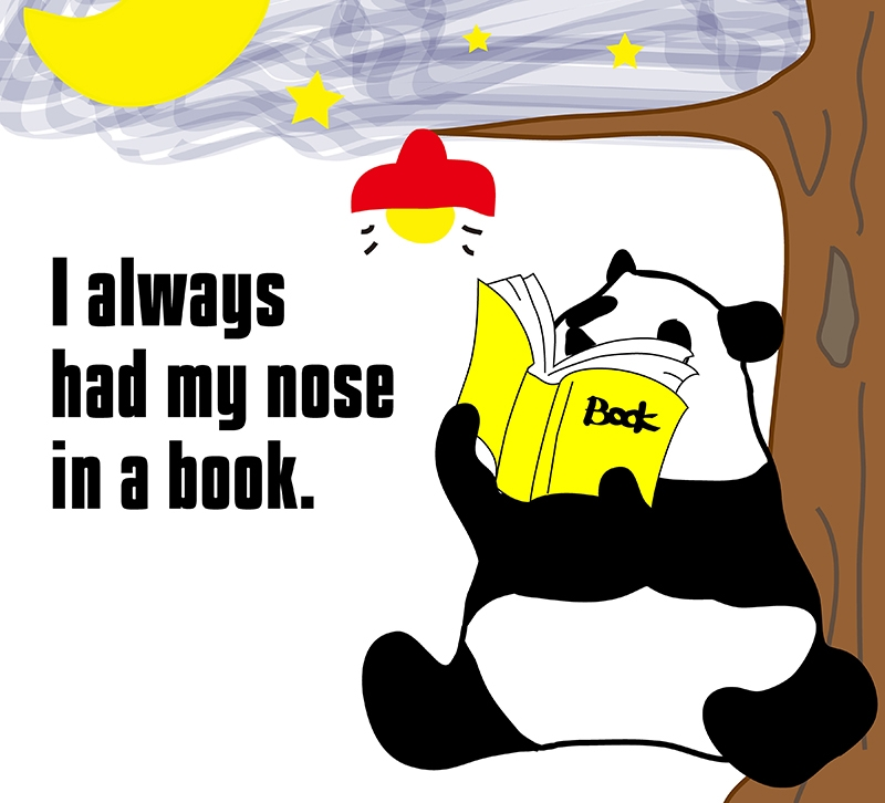 have one's nose in a bookのパンダの絵