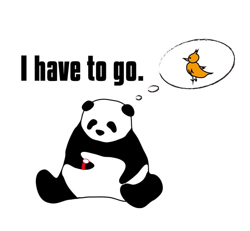 I have to go.のパンダの絵