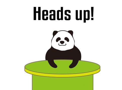 heads upのパンダの絵