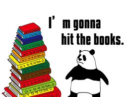 I'm gonna hit the books.のパンダの絵
