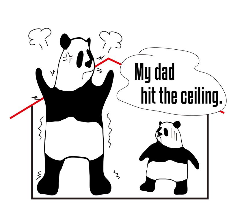 「hit the ceiling」のパンダの絵
