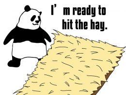 I'm gonna hit the hay.のパンダの絵