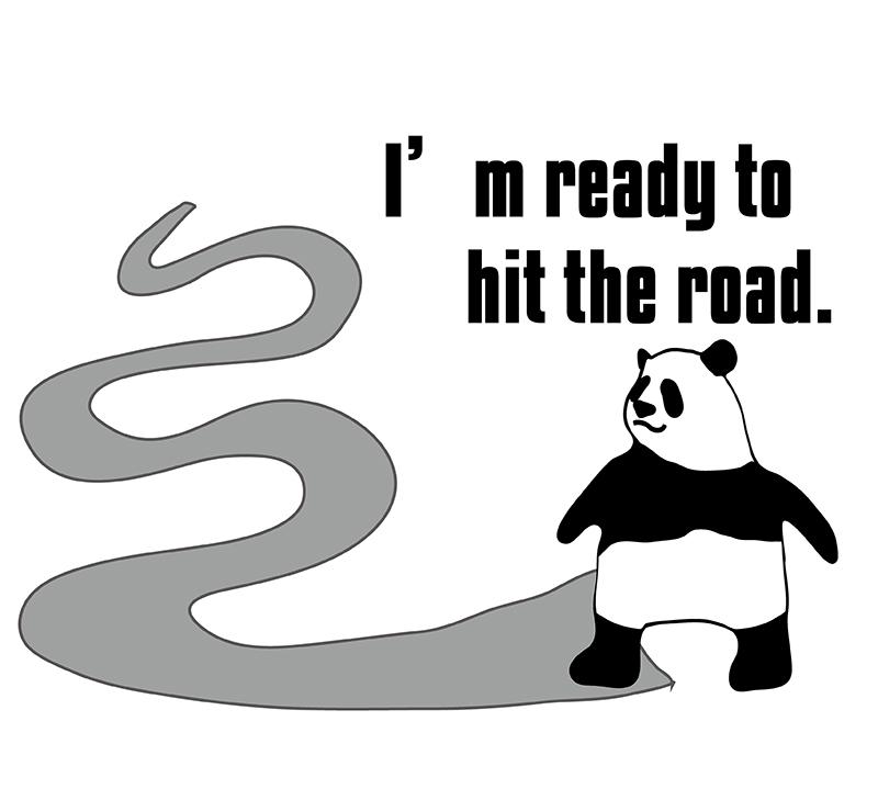 I'm gonna hit the road. のパンダの絵