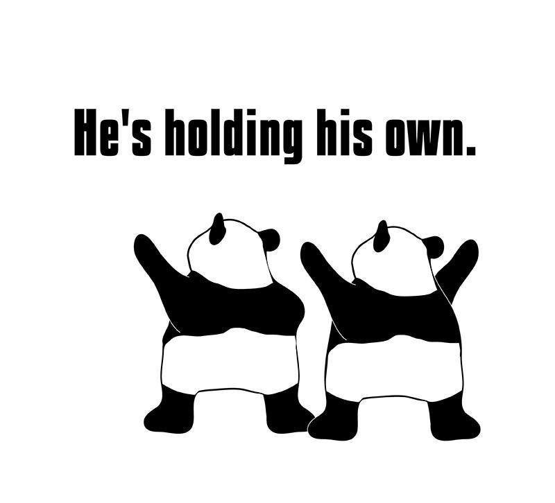 hold one's own のパンダの絵