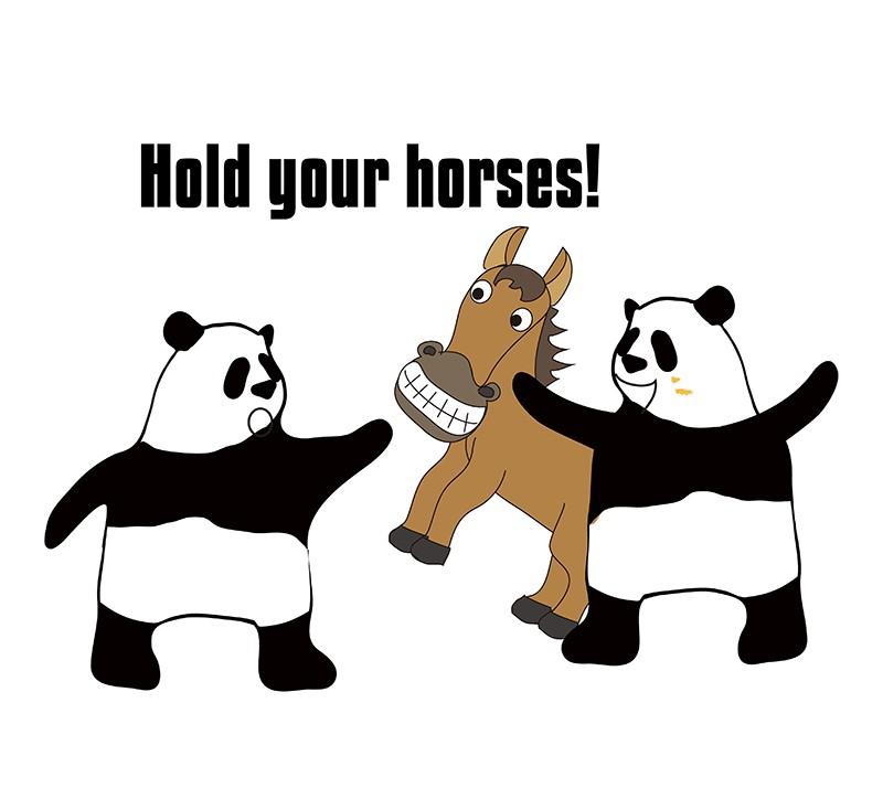 hold your horsesのパンダの絵