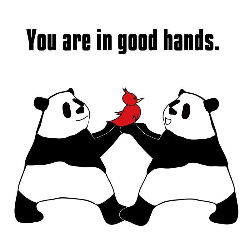 in good hands のパンダの絵