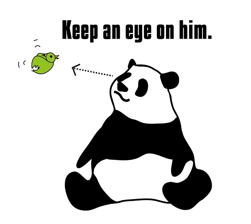 keep an eye on のパンダの絵