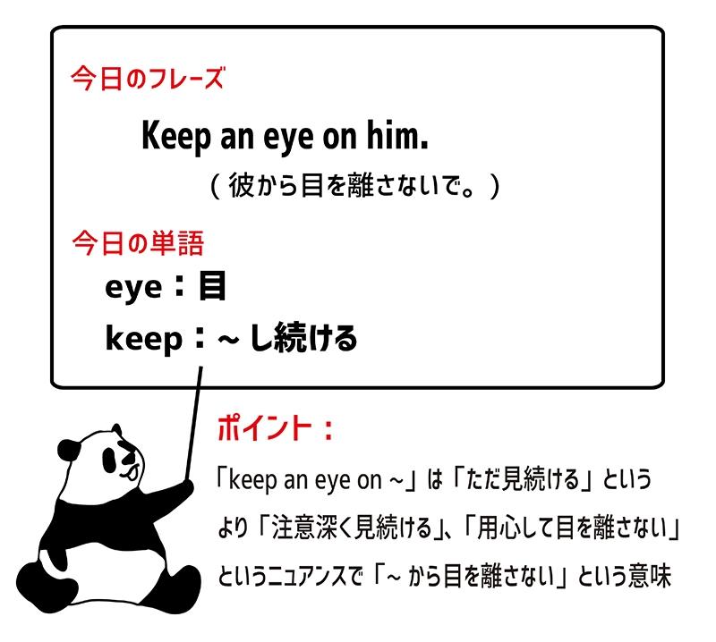 keep an eye on のフレーズ