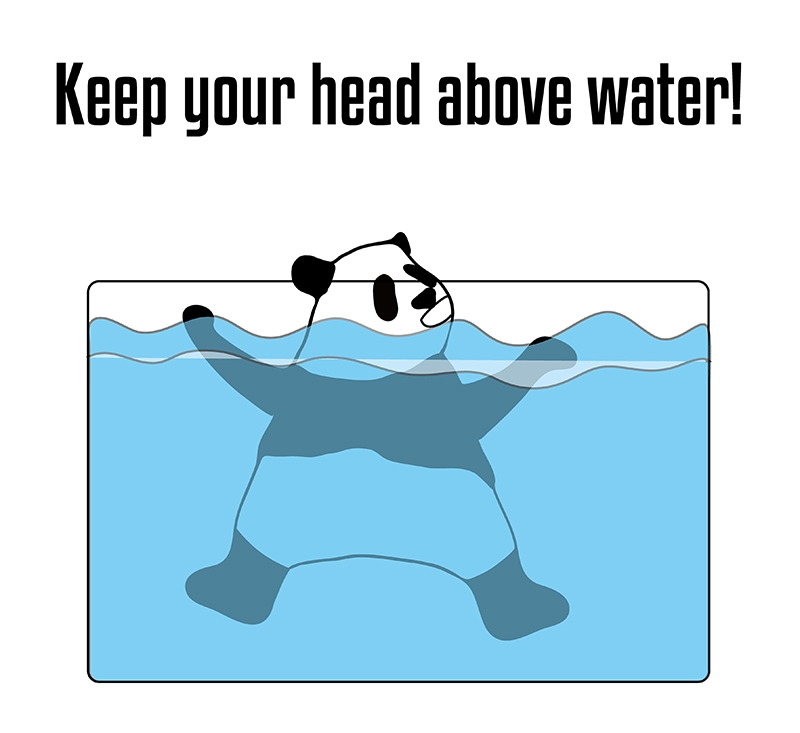 Keep your head above waterのパンダの絵