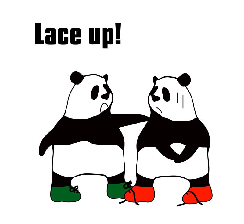lace upのパンダの絵