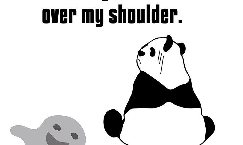 look over one's shoulder のパンダの絵