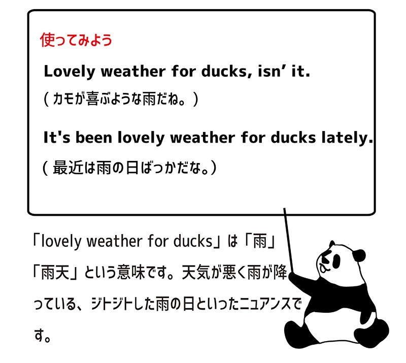 lovely weather for ducksの使い方