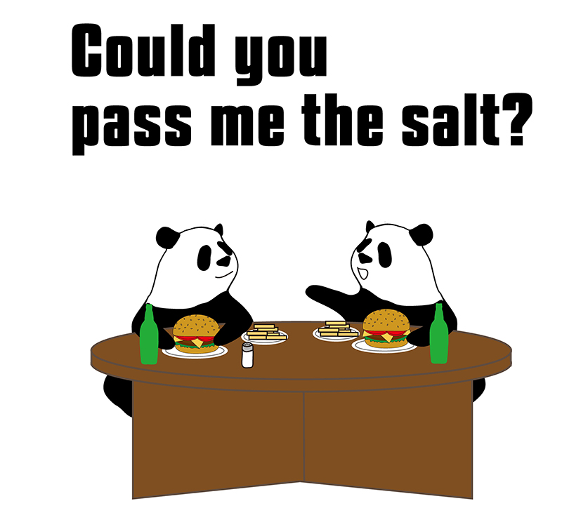 Could you pass me the salt?のパンダの絵