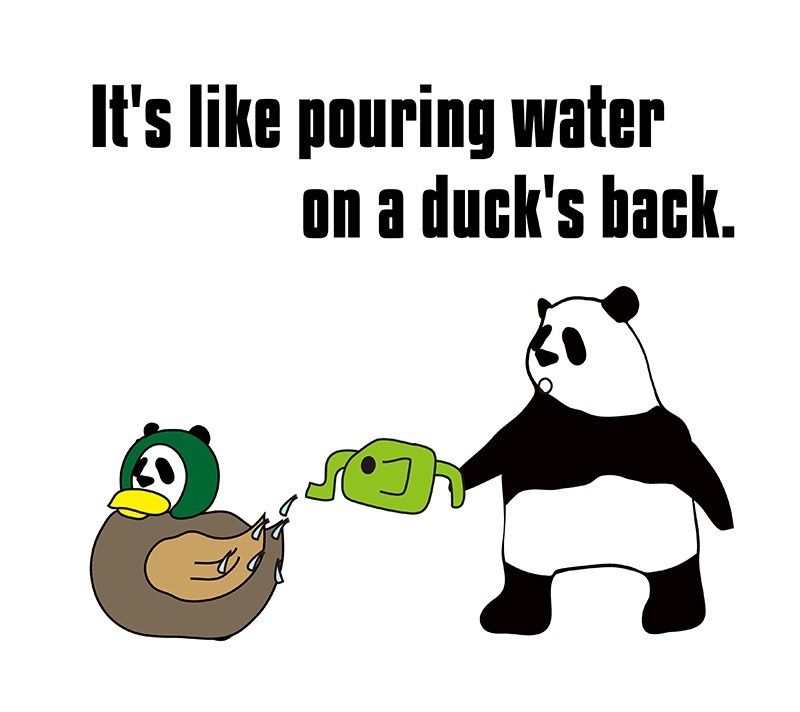 pour water on a duck's backのパンダの絵