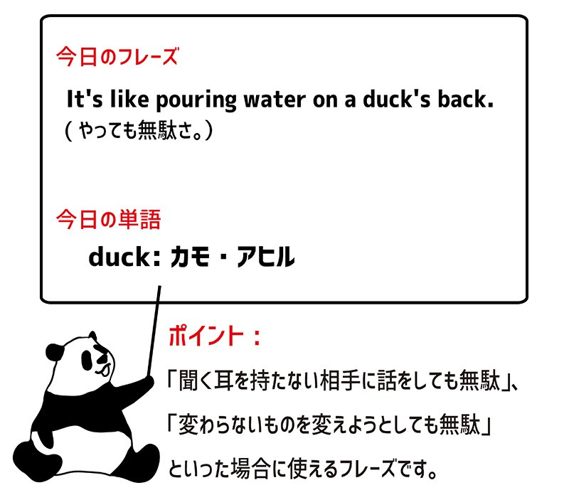 pour water on a duck's backのフレーズ