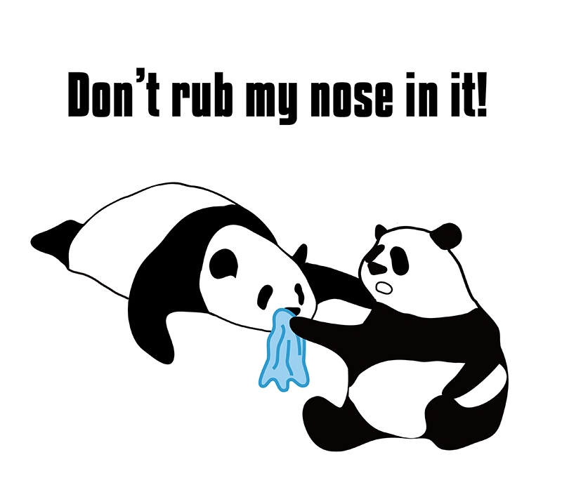 rub one's nose in it のパンダの絵