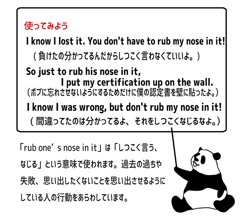 rub one's nose in it の使い方