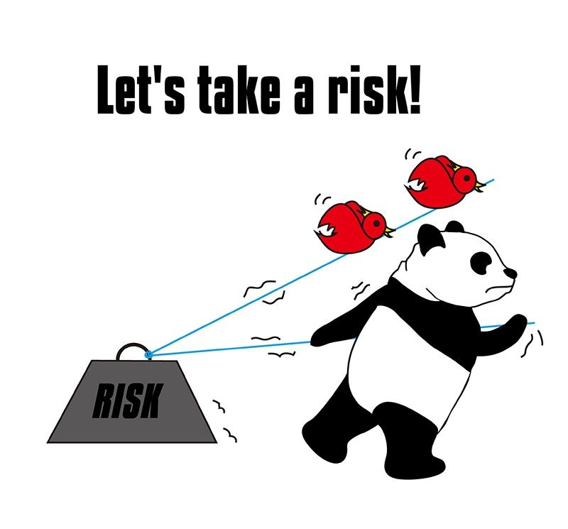 take a riskのパンダの絵