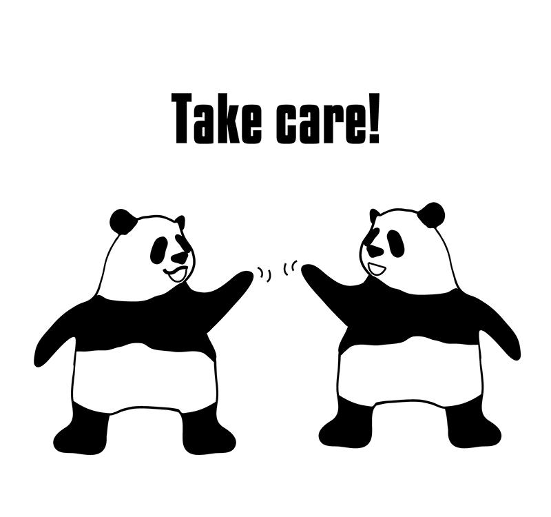 take care のパンダの絵